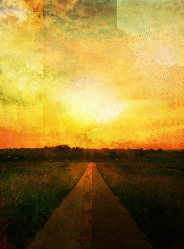 Brett Poster featuring the digital art Sunset Road by Brett Pfister