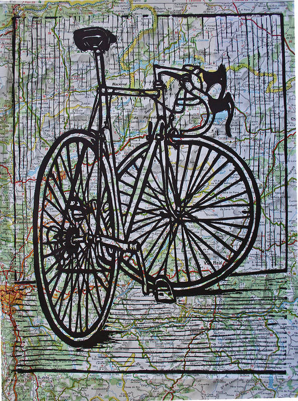 Bike Poster featuring the drawing Bike 4 On Map by William Cauthern