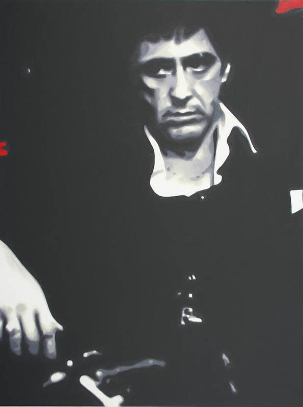 Ludzska Poster featuring the painting Scarface 2013 by Luis Ludzska