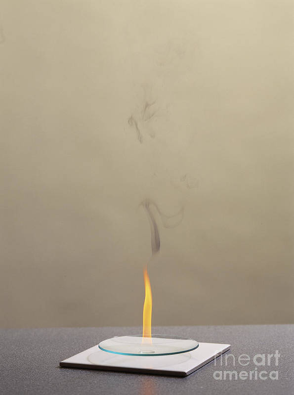 Hexene Poster featuring the photograph Combustion Of An Alkene by Martyn F. Chillmaid