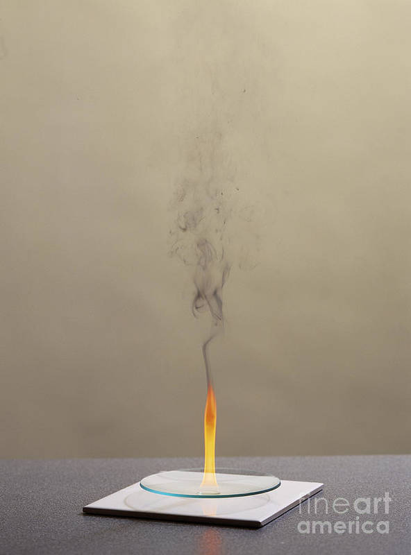 Cyclohexene Poster featuring the photograph Combustion Of Cyclohexene by Martyn F. Chillmaid