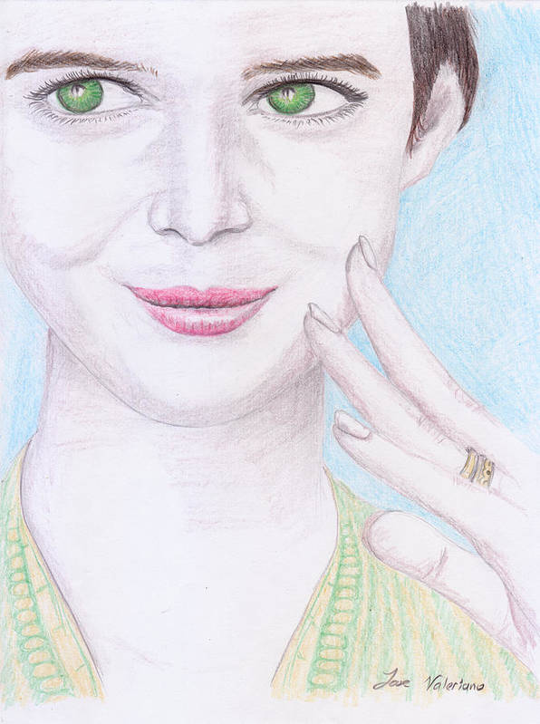 Prismacolor Poster featuring the drawing Cute Smile by M Valeriano