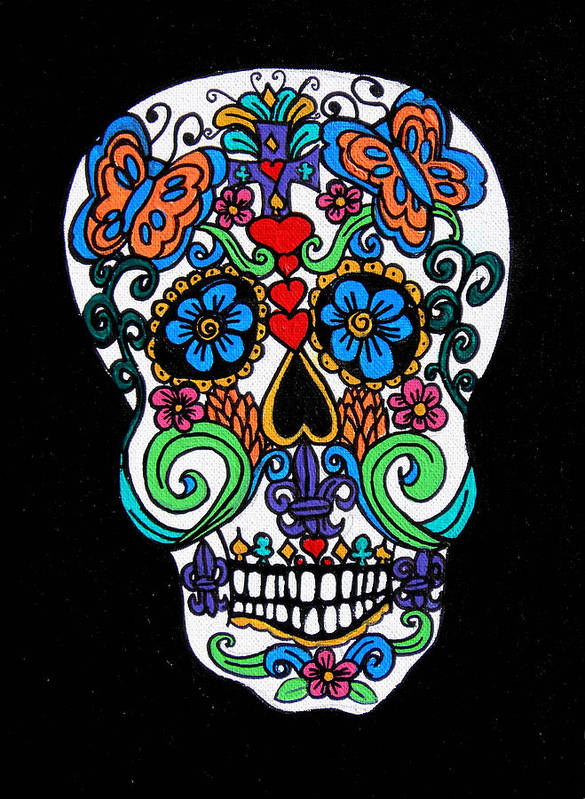 Skull Poster featuring the painting Day Of The Dead Skull by Genevieve Esson