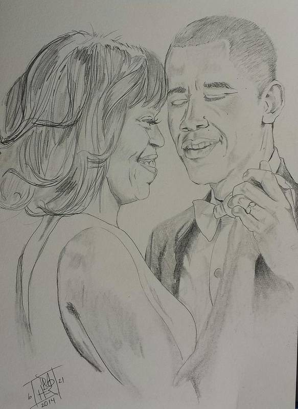 Barack Obama Poster featuring the drawing First Dance by DMo Herr