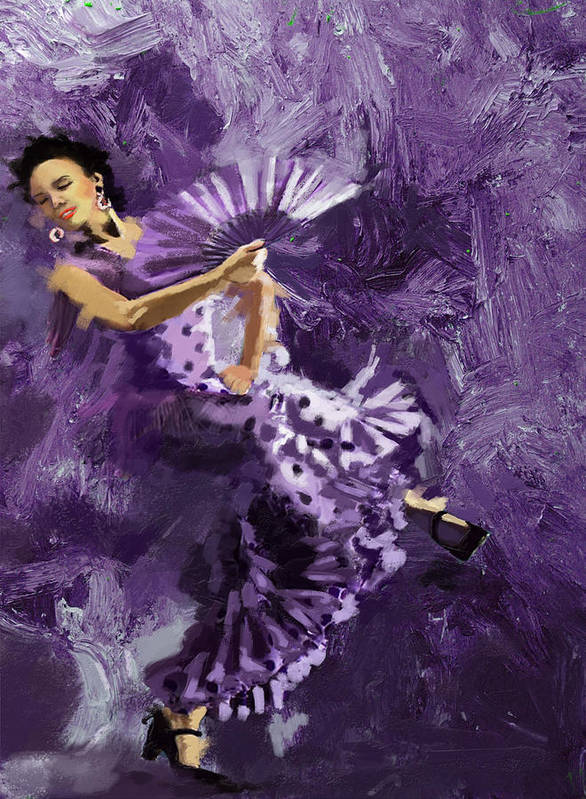 Jazz Poster featuring the painting Flamenco Dancer 023 by Catf