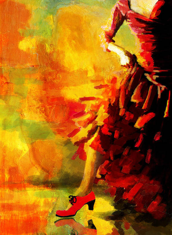 Jazz Poster featuring the painting Flamenco Dancer 026 by Catf