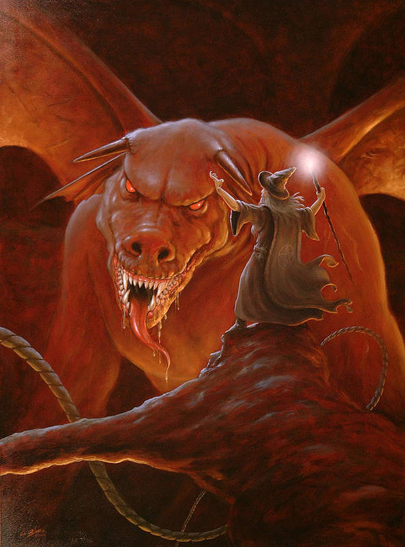Paintings Poster featuring the painting Gandalf Fighting The Balrog by John Silver