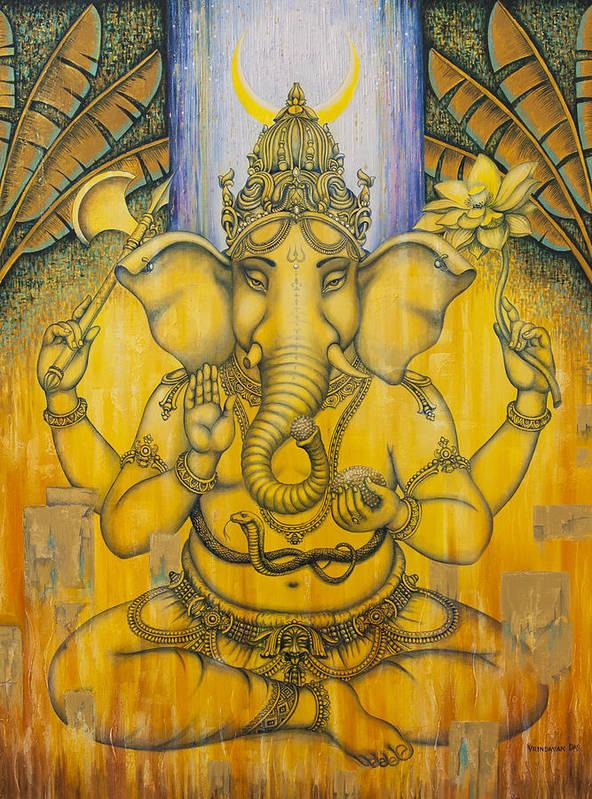 Ganesha Poster featuring the painting Ganesha by Vrindavan Das