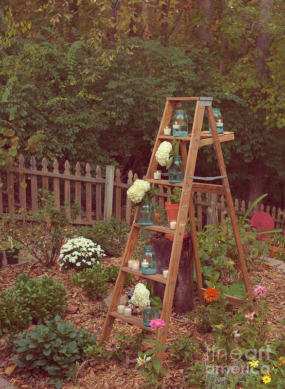 Ladder Poster featuring the photograph Garden Decorations by Kay Pickens