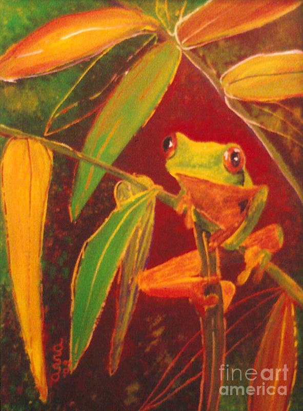 Frog Poster featuring the painting Hanging In There by Anna Skaradzinska