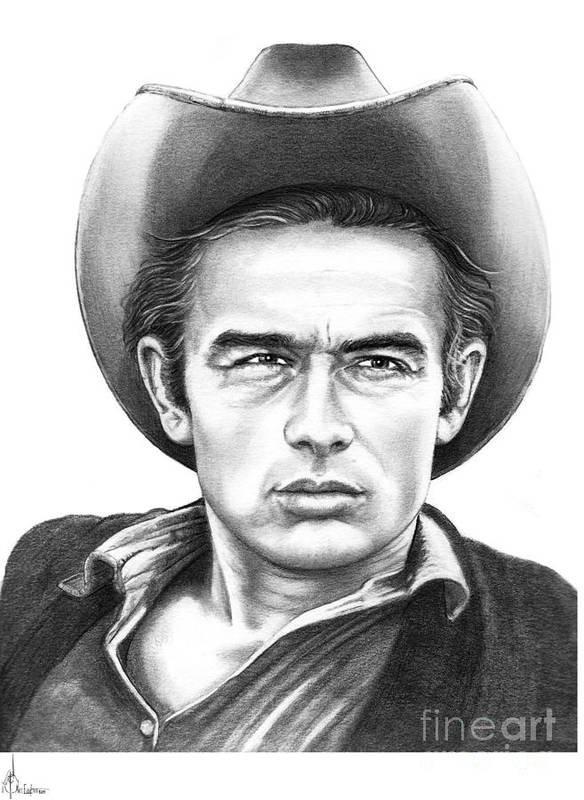 Drawing Poster featuring the drawing James Dean by Murphy Elliott