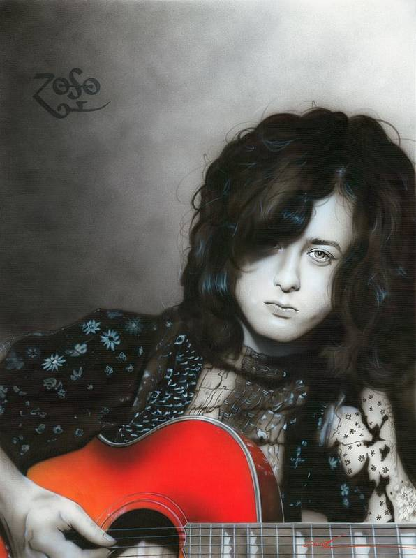 Jimmy Page Poster featuring the painting 'jimmy Page' by Christian Chapman Art