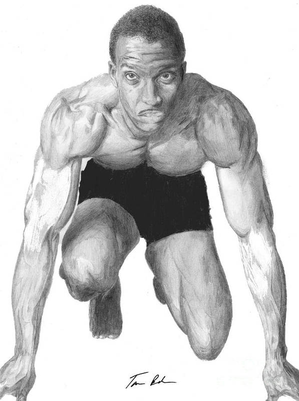 Michael Johnson Poster featuring the drawing Johnson by Tamir Barkan