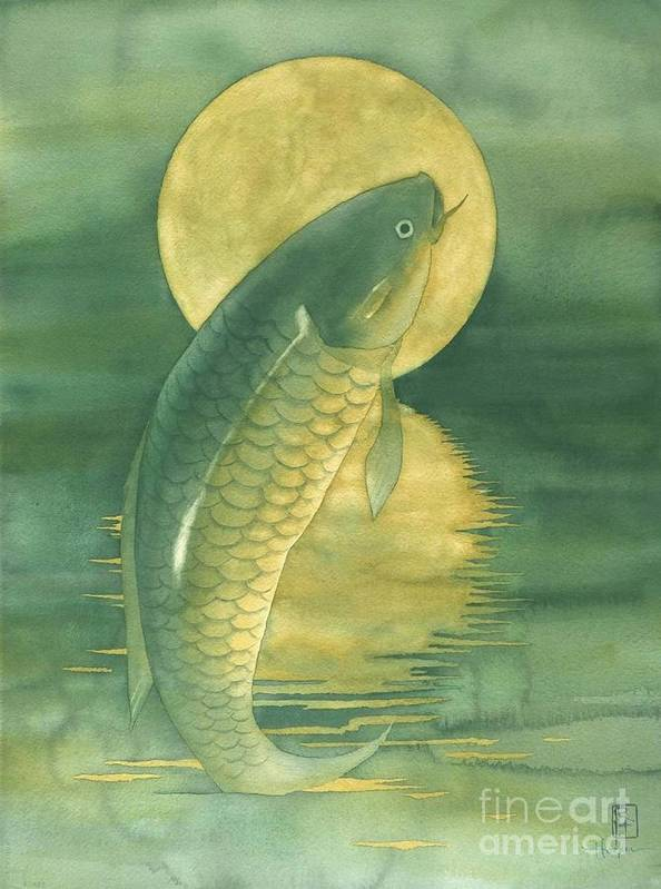Watercolor Poster featuring the painting Moon Koi by Robert Hooper