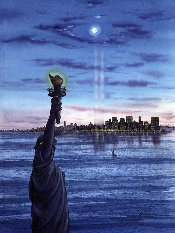 New York Paintings Poster featuring the painting New York by John YATO