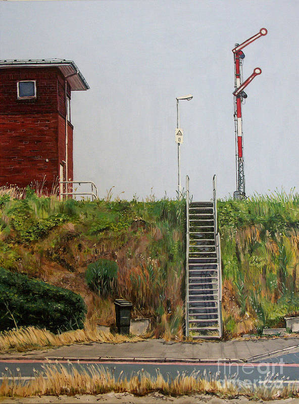 Train Poster featuring the painting Pointing The Way by Ulrike Miesen-Schuermann