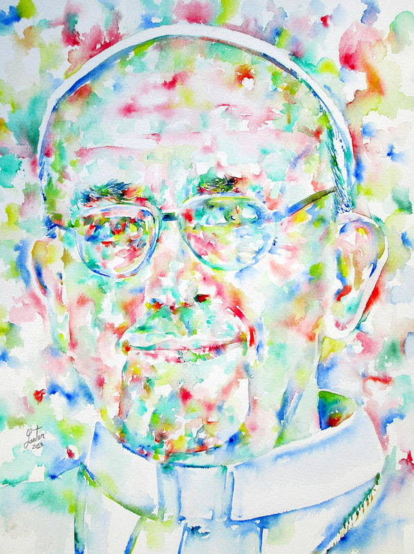 Pope Poster featuring the painting Pope Francis Watercolor Portrait by Fabrizio Cassetta