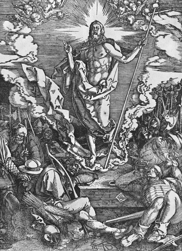 Male Poster featuring the painting Resurrection by Albrecht Duerer