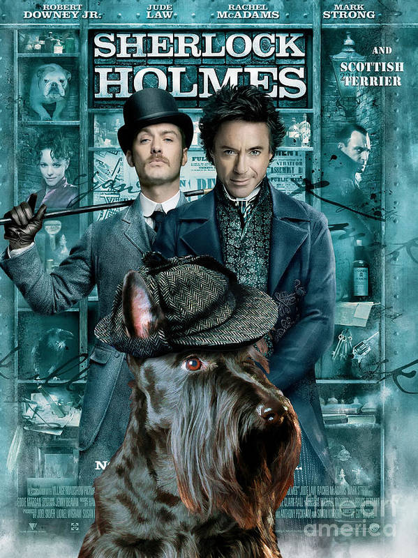 Scottish Terrier Poster featuring the painting Scottish Terrier Art Canvas Print - Sherlock Holmes Movie Poster by Sandra Sij