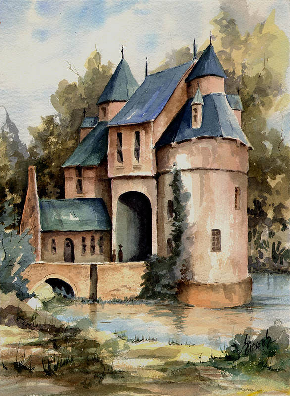 Secluded Poster featuring the painting Secluded Castle by Sam Sidders