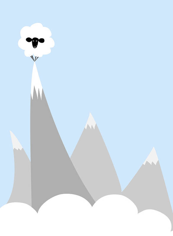 Sheep Poster featuring the digital art Sheep On Top Of A Mountain by Christy Beckwith