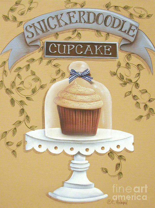 Art Poster featuring the painting Snickerdoodle Cupcake by Catherine Holman