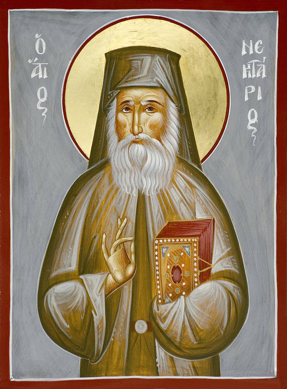 Poster featuring the painting St Nektarios Of Aegina by Julia Bridget Hayes