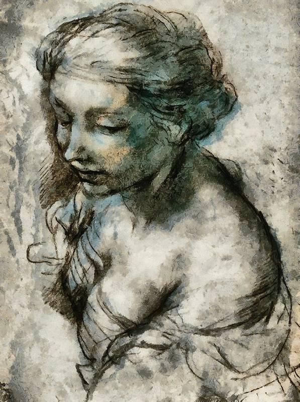 Woman Poster featuring the digital art Study by Gun Legler