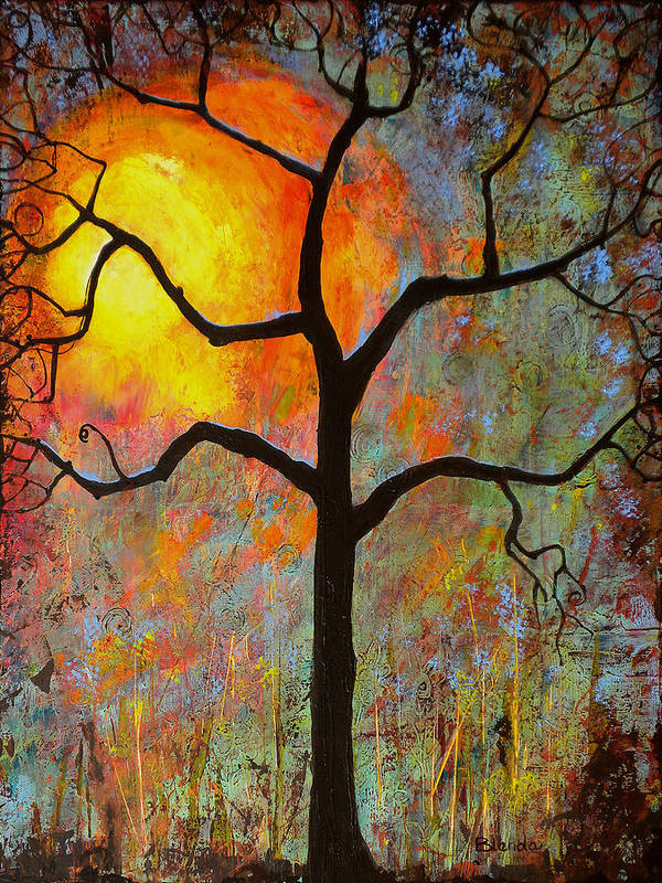 Tree Poster featuring the painting Sunrise Sunset by Blenda Studio