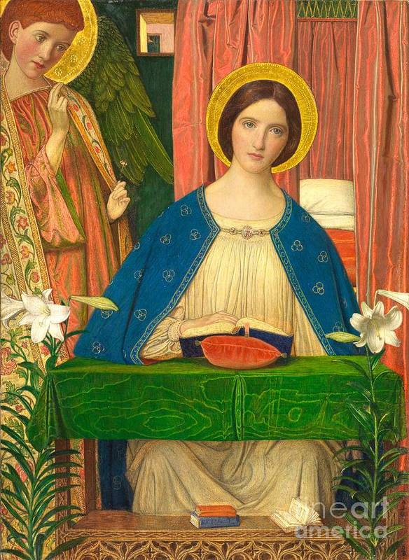 Virgin Mary Poster featuring the painting The Annunciation by Arthur Joseph Gaskin
