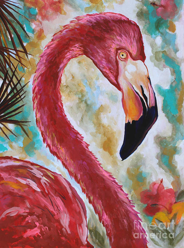 Pink Flamingo Poster featuring the painting The Imposter by Eve Wheeler
