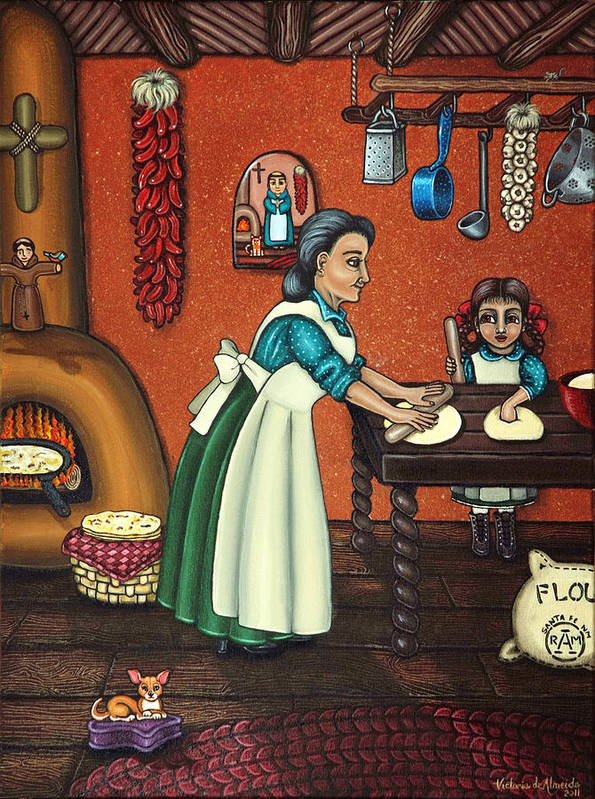Folk Art Poster featuring the painting The Lesson Or Making Tortillas by Victoria De Almeida