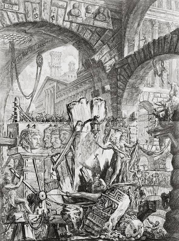 Italian; Architecture; Interior; Vaulting; Stairs; Bridges; Balcony; Neo-classical; Jail;goal; Staircase; Winch; Chain; Capriccio; Prison; Interior; Torture; Torturing; Eerie; Grim; Austere; Incarceration; Imprisoned; Fantasy; Fantastic; Imaginary; Fear; Pain; Jailer; Gaoler; Prisoner; Pulley; Arch; Arches; Punishment; Dungeon; Figures; Criminal; Cruelty; Gruesome; Human Rights; Pain; Agony Poster featuring the drawing The Man On The Rack Plate II From Carceri D'invenzione by Giovanni Battista Piranesi