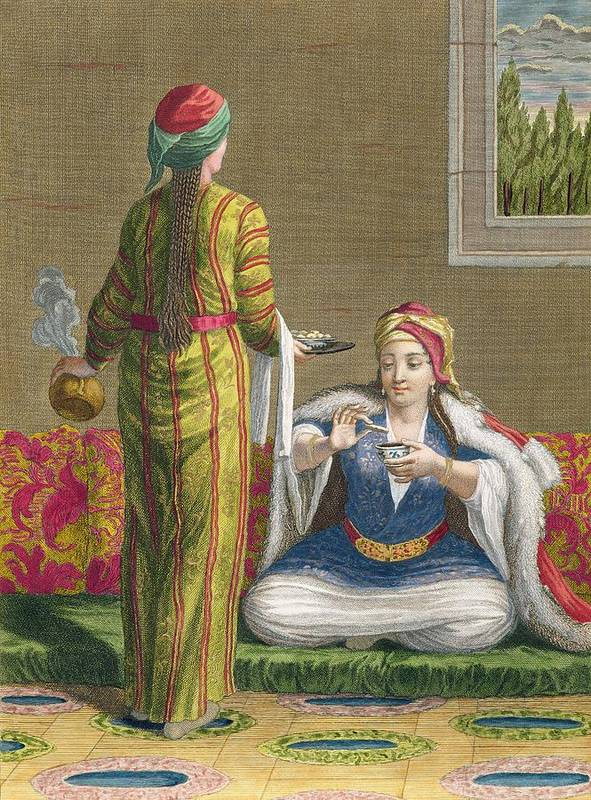 Ottoman Poster featuring the drawing Turkish Girl, Having Coffee by Jean-Baptiste Haussard