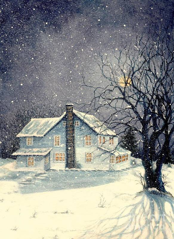 Old Poster featuring the painting Winter's Silent Night by Janine Riley