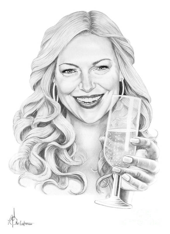 Drawing Poster featuring the drawing Laura Prepon by Murphy Elliott