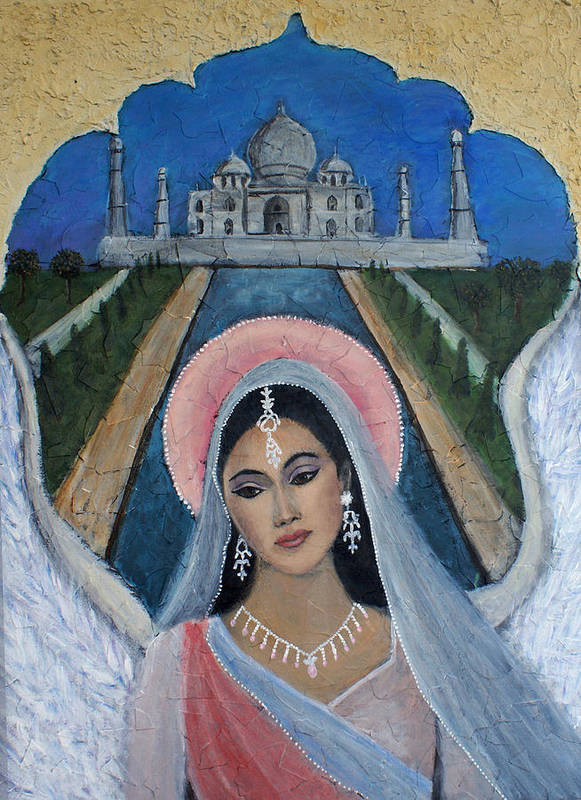 Angel Poster featuring the painting Amishi An Earth Angel Representing A Young Bride On Her Wedding Day by The Art With A Heart By Charlotte Phillips