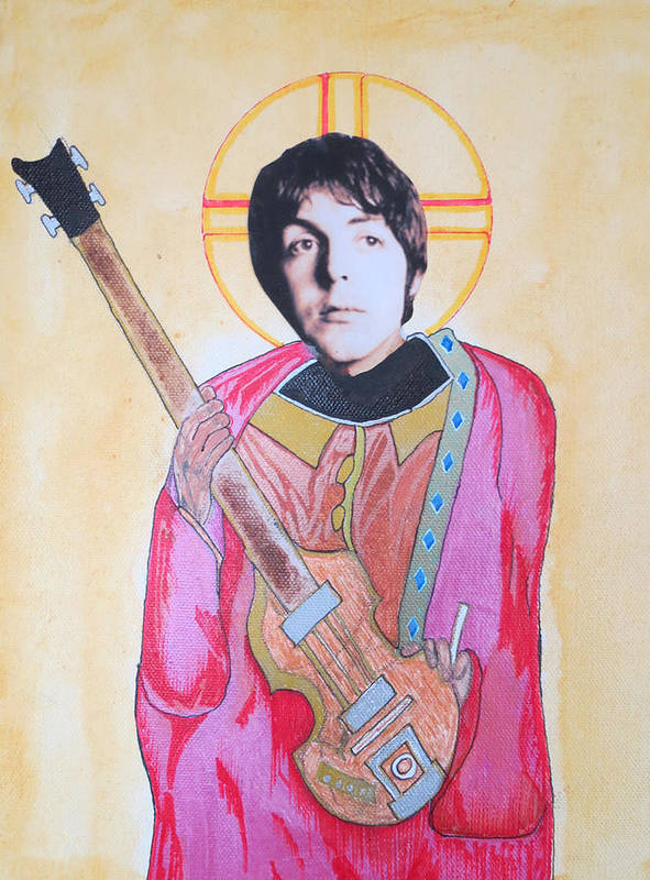 Beatles Poster featuring the mixed media Blessed Paul by Philip Atkinson
