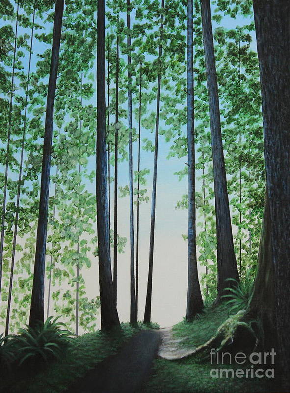 Landscape Poster featuring the painting Blue In Green by Dan Lockaby
