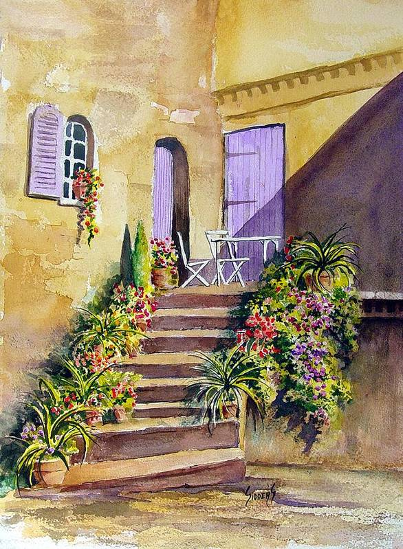 Flowers Poster featuring the painting Crooked Steps And Purple Doors by Sam Sidders