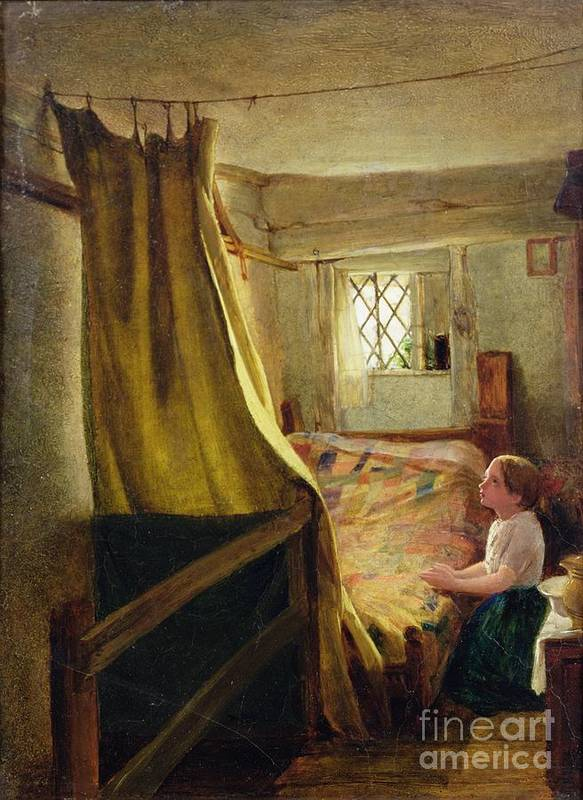Evening Poster featuring the painting Evening Prayer by John Bagnold Burgess