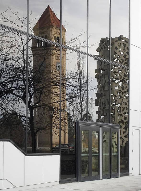 Spokane Poster featuring the photograph Great Northern Clocktower Reflection - Spokane Washington by Daniel Hagerman
