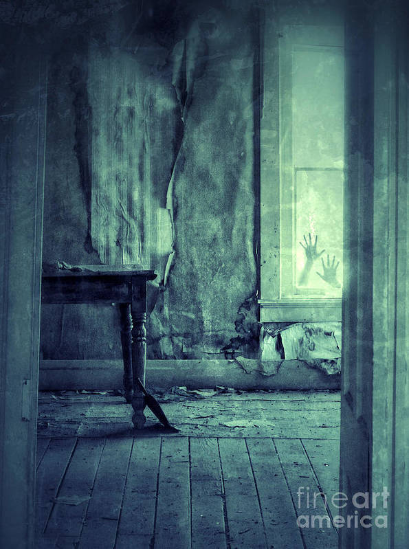 Room Poster featuring the photograph Hands On Window Of Creepy Old House by Jill Battaglia