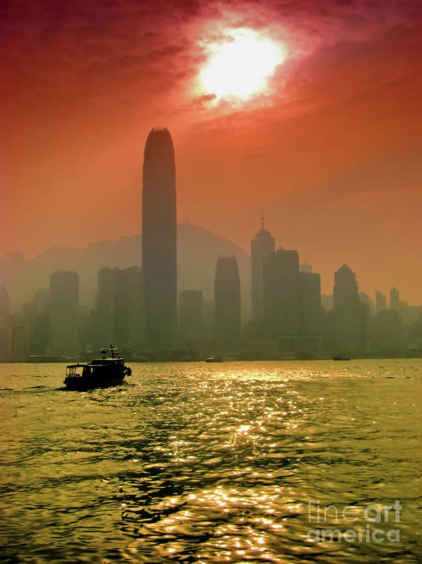 Sunset Poster featuring the photograph Hong Kong Sunset by Bibhash Chaudhuri
