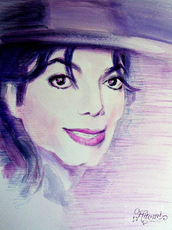 Michael Jackson Poster featuring the painting Michael Jackson - Purple Fedora by Hitomi Osanai