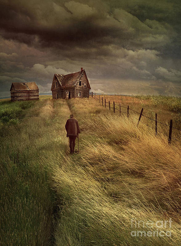 Alone Poster featuring the photograph Old Man Walking Up A Path Of Tall Grass With Abandoned House In by Sandra Cunningham