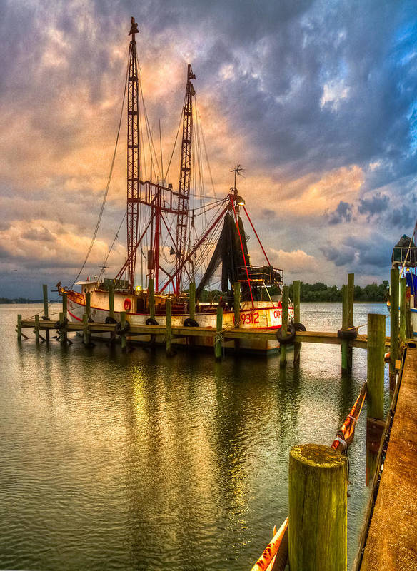 Cloud Poster featuring the photograph Shrimp Boat At Sunset by Debra and Dave Vanderlaan