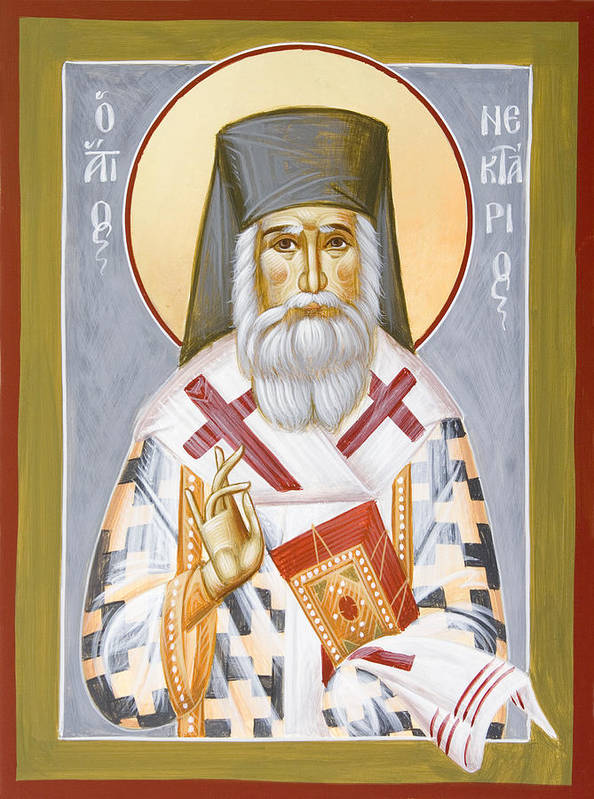 Saint Nektarios Of Aigina Poster featuring the painting St Nektarios by Julia Bridget Hayes