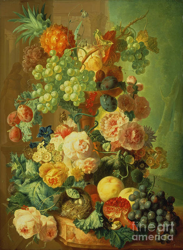 Plum Poster featuring the painting Still Life With Fruit And Flowers by Jan van Os