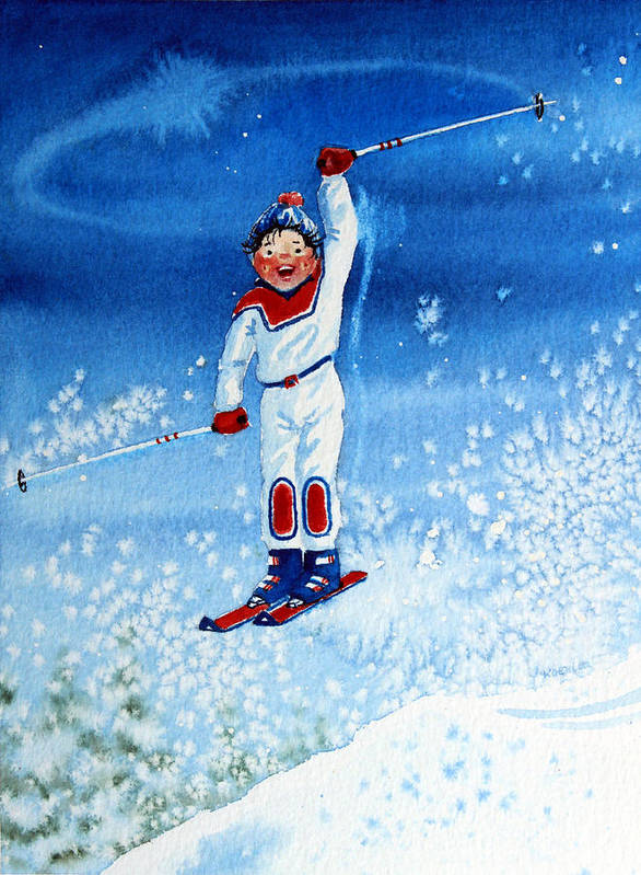 Kids Art For Ski Chalet Poster featuring the painting The Aerial Skier 15 by Hanne Lore Koehler